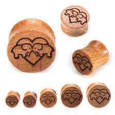 1 pair 00g-20mm Love Pigs Wooden Ear Plug Gauges Expansion Earring Lobe Piercing