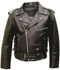Mens Motorcycle Solid Black Buffalo Leather Jacket Zipout Lining Side Lacing