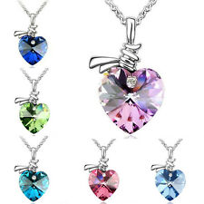 New Fashion Pendant Chain Crystal Love Heart Silver Chain Necklace Jewelry Charm