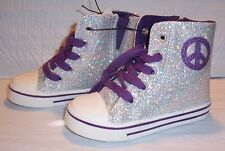 Toddler Girl's Sneakers - Sparkling Silver with Purple - Size 5, 8 or 10