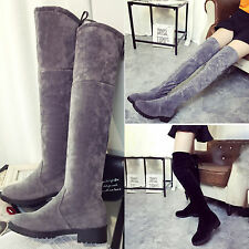 Women Fashion Faux Suede Over the Knee Thigh Flat Heel High Boots Slim Leg Shoes