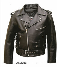 Mens Black Motorcycle Jacket Split Cowhide Leather Zipout Liner Side Laces