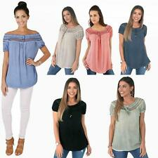 Womens Gypsy Boho Loose Lightweight Off Shoulder Top Blouse Tunic Shirt AU