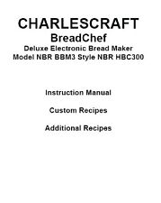 Charlescraft Bread Machine Manual BBM3 HBC110 HBC210 HBC310 HBC311 HBC315 HBC420