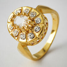 Gorgeous Womens Yellow Gold Plated Clear CZ Promise Love Band Ring Size 7-9