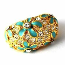 Womens Blue Enamel CZ Flower Rings yellow gold filled ring size 7 8 9