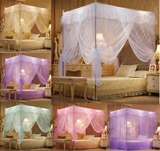 Princess Lace 4 Corner Post Bed Canopy Mosquito Nets Queen King Sizes Netting