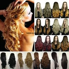 Ombre Wig 3/4 Half Wigs Cap Hair Nets Two Tone Hairpiece Dip Dye Real Thick UK