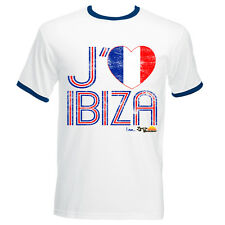I Love Ibiza Mens T-shirt Franc Flag Vintage Top Blue White Navy Contrast Ringer