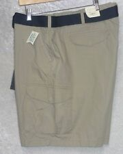 Sonoma Mens Big Tall Cargo Shorts belted cotton solid flat plaid size 50 NEW