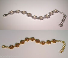 Crystal & Pearl Bracelets - Gold/Smoked Topaz  or  White/Clear Crystal CW0028