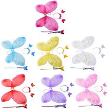 New 3Pc Set Girls Fairy Costume Butterfly Wings Wand Princess Headband Beauty