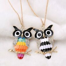 Lovely Women Crystal Retro Rhinestone Owl Pendant Long Chain Necklace Jewelry