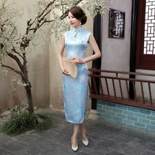 Fresh Light Blue Chinese Sleeveless Women's Silk Long Dress Cheong-sam S-3XL