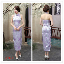 Women Silk Satin Halter Cheong-sam Sleeveless Backless Qipao Party Dress Purple