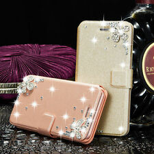 Luxury Bling Crystal Leather Flip Card Wallet Stand Case Cover For Apple iPhone