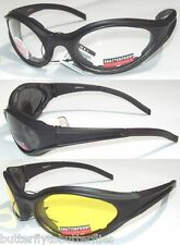 3 FOAM PADDED MOTORCYCLE RIDING GLASSES DAY & NIGHT  ATV QUAD 4 WHEELER VEHICLE