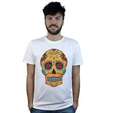 T-shirt Mexican Skull with crucifix, T-shirt white style Tattoo Rock