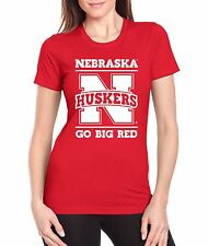 "Women's Nebraska Cornhuskers ""Nebraska Huskers GO BIG RED) Fitted Tee Shirt"