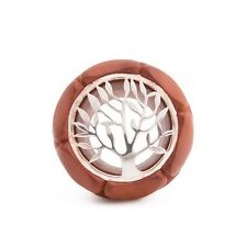Saba Wood Plug with .925 Sterling Silver Tree Inlay - 16mm-30mm - Price Per 1