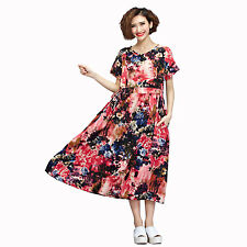National Style Casual Slim Short Sleeves Blossom Printing Long Dress Oversized