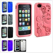 3D Sculpture Clockwork Gear Silicone Soft Skin Case Cover For Apple iPhone 4 4S