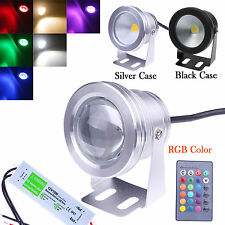 12V 10W LED Underwater Spot Light RGB Cool Warm Garden Pond Lamp IP68 + Adapter