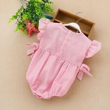 Phenovo Newborn Baby Girls Summer Short Sleeve Romper Pink One-Piece Bodysuit