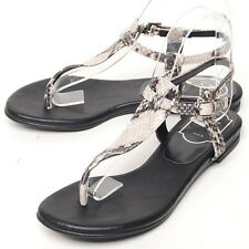 New Women's Leather Low Heel Sandal Shoes_Snake pattern / White /  Black