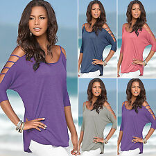 Plus Size Sexy Women Half Sleeve Cut Out Cold Shoulder Casual Blouse Top T-Shirt