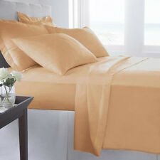 800TC 100% Egyptian Cotton Ultra Soft Beige Solid 4PC Sheet Set All Size & Deep