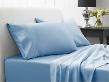 800TC 100% Egyptian Cotton Ultra Soft Blue Solid 4PC Sheet Set All Size & Deep