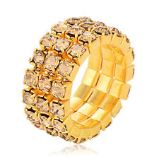 Gold Plated Women CZ Free Size Adjustable Fashion Ring Gift FreeShipping