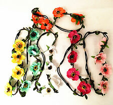WOMEN GIRLS BOHO FLORAL FLOWER BEACH HEADBAND HAIRBAND FESTIVAL PARTY WEDDING UK