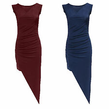 Womens Ladies V Neck Ruched Asymmetric Hem Bodycon Midi Party Dress Size UK 8-14