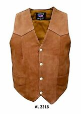 Men's Brown Plain Motorcycle Vest in Buffalo Leather by Allstate Leather