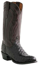 Lucchese M1609 R4 Mens Black Cherry Full Quill Ostrich Boots