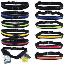 Double Zipper Waist Belt Wallet Travel Bag Outdoor Elastic Sports Pocket Unisex
