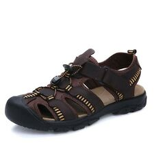 Men's Genuine Leather Fisherman Beach Shoes Flat Sport Sandals Waterproof Shoes