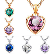 Hot Fashion Women Silver Gold Chain Crystal Heart Pendant Necklace Jewelry Charm