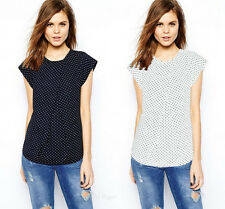 New Summer Women Fashion Top Print Chiffon Polka Dot Short Sleeve T-Shirt Blouse