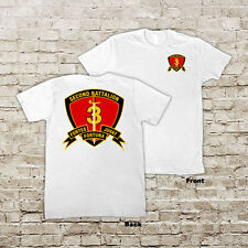 US 2nd Battalion 3rd Marines USMC Marine Corp WWII White or Black T-Shirt
