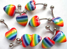 14g Surgical Steel Heart or Star Rainbow Pride 12mm Belly Bar with UV Stripe