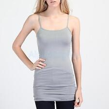 Basic Solid Color Tank Top Long Camisole Non-Adjustable Spaghetti Strap