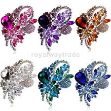 Diamante Vintage Large Flower Brooch Pins Wedding Party Jewelry Bridal Bouquet