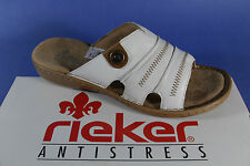 Rieker Mules, Leather, white/brown, soft inner sole leather 60876 NEW