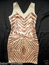 NWT bebe beige gold v neck cutout mesh sparkle sequin bodycon top dress S small