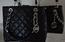 NWT Michael Kors Susannah Small North South Tote Quilted Leather Black $328+tax