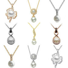 New Fashion Pendant Silver/Gold Chain Crystal Rhinestone Pearl Necklace Jewelry