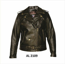 Ladies Retro Brown Buffalo Leather Motorcycle Jacket Quilted Zipout Lining